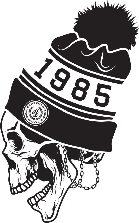Skull sticker 1985 Free Vector