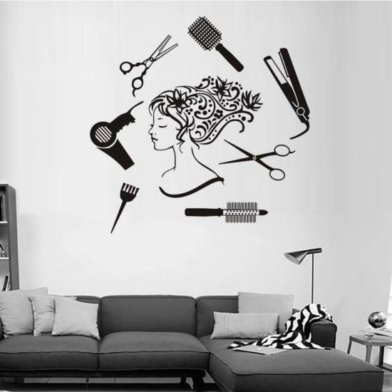 Hair Salon Girl Wall Art dxf File