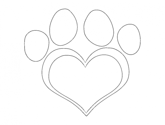 Dog Paw Heart dxf File