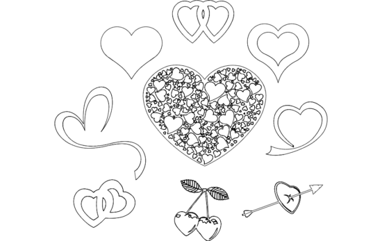 valentine's Day Hearts dxf File