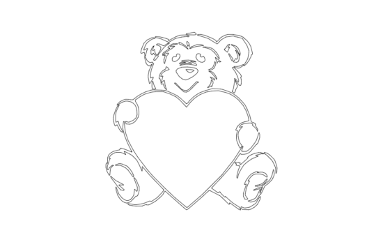 bear and heart dxf File