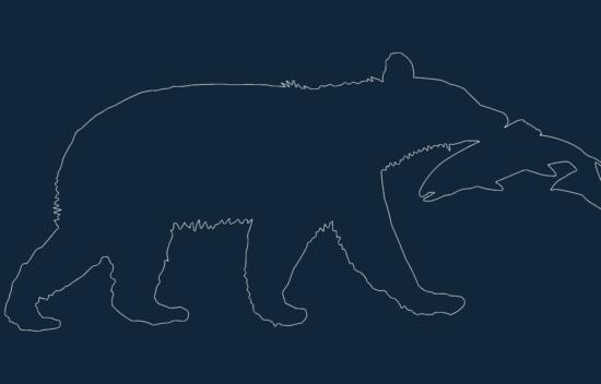 Animal Bear Catching Fish dxf file