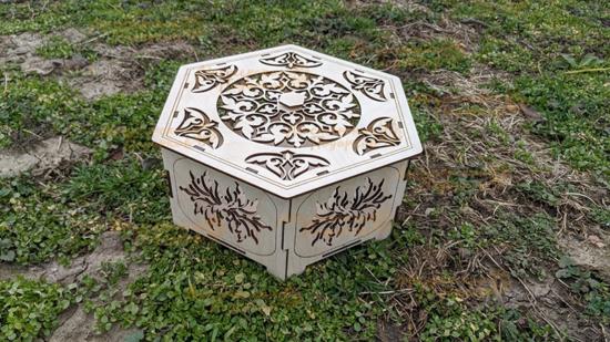 Laser Cut Wooden Hexagonal Basket Free Vector