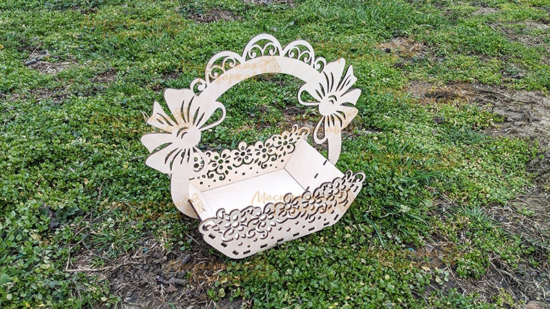 Laser Cut Decorative Easter Basket Free Vector