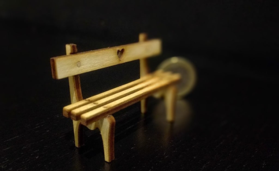 Laser Cut Tiny Bench 3mm Plywood DXF File