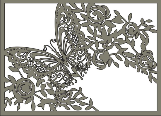 Laser Cut Butterfly Stencil Free Vector