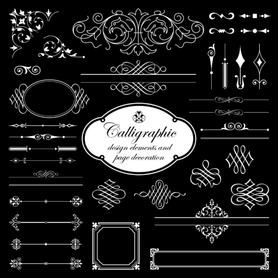 Calligraphic Elements And Page Decoration For Design Isolated On Black Background Vector Set Free Vector