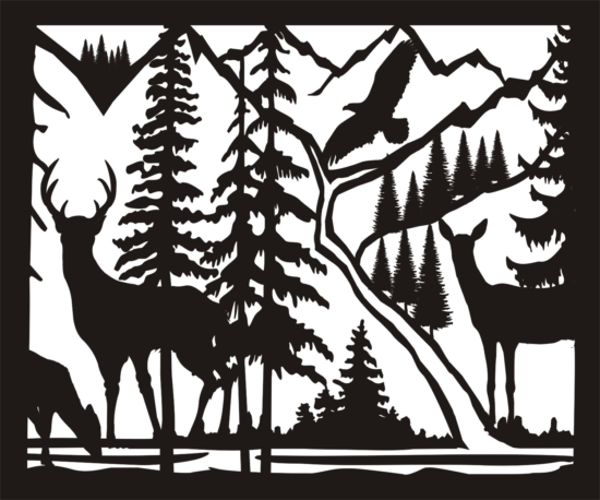 30 X 36 Doe Buck Doe Eagle River Plasma Metal Art DXF File