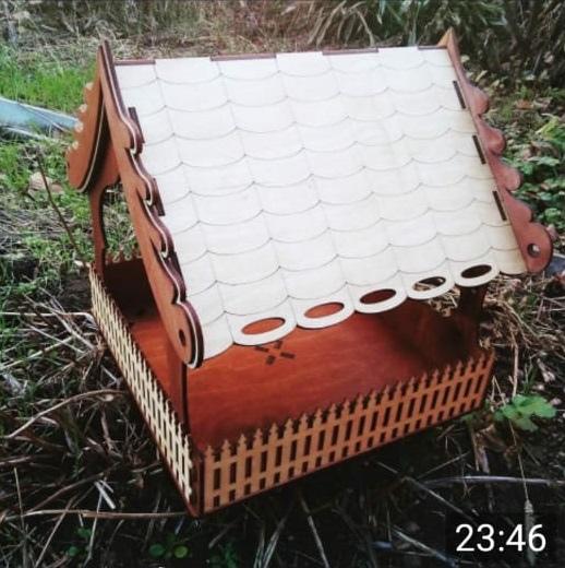 Laser Cut Wooden Bird Feeder Free Vector