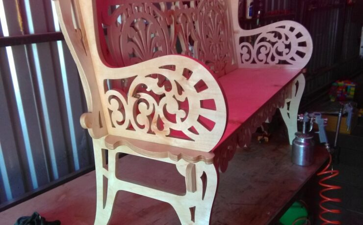 Laser Cut Small Wood Decorative Bench 21mm DXF File