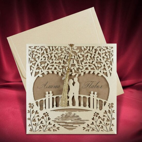 Invitation Card Couple  Laser Cutting Template CDR File Standing On Bridge Design