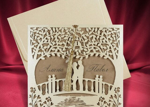 Invitation, Card Couple, Laser Cutting, Template, CDR File, Standing On Bridge, Design