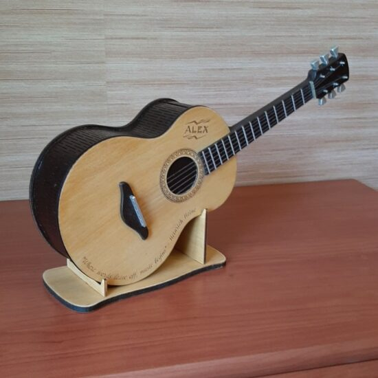 Guitar Piggy Bank Kids Coin Bank Free Vector Laser Cut