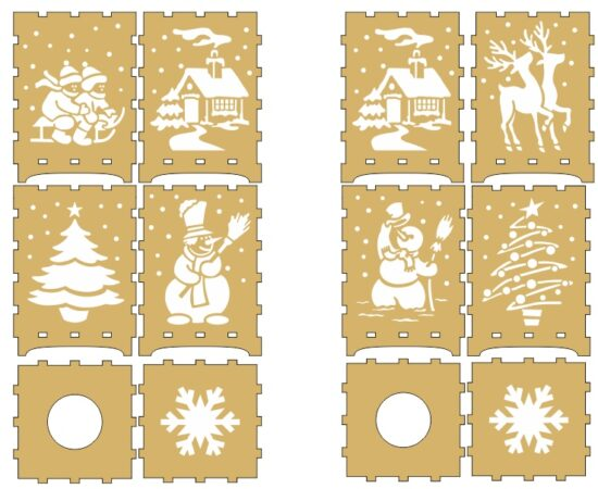 New Year, lamp box, vector file, free laser, cut layout, free puzzle box
